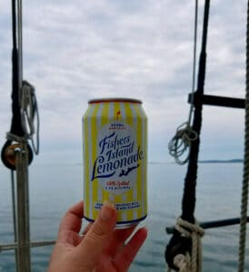 Fisher's Island Lemonde with a view of Fisher's Island on the Mystic River Sunset Sail