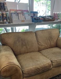 A comfortable sofa at Bank Square Books.