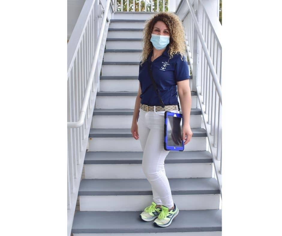 Housekeeper on stairs